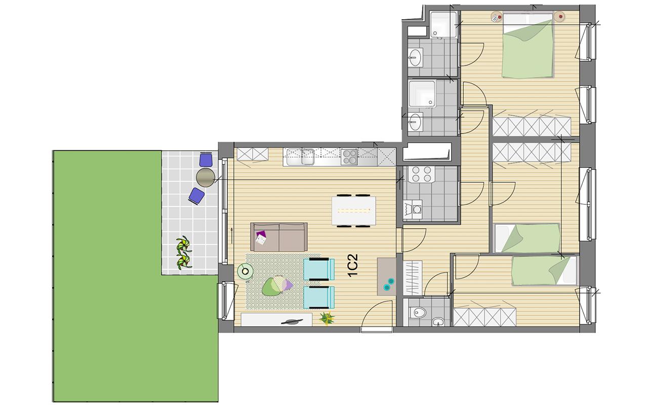 grondplan drieslaapkamerappartement Residentie Schuman