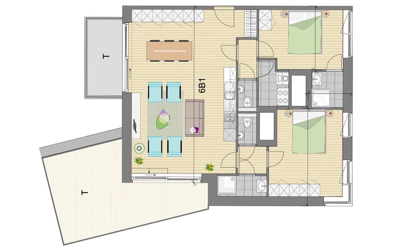 grondplan 2 penthouse Residentie Schuman
