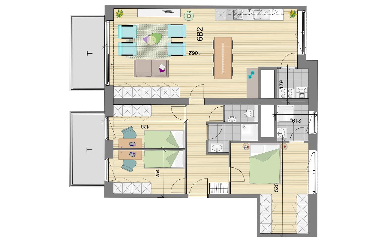 plan penthouse Résidence Schuman