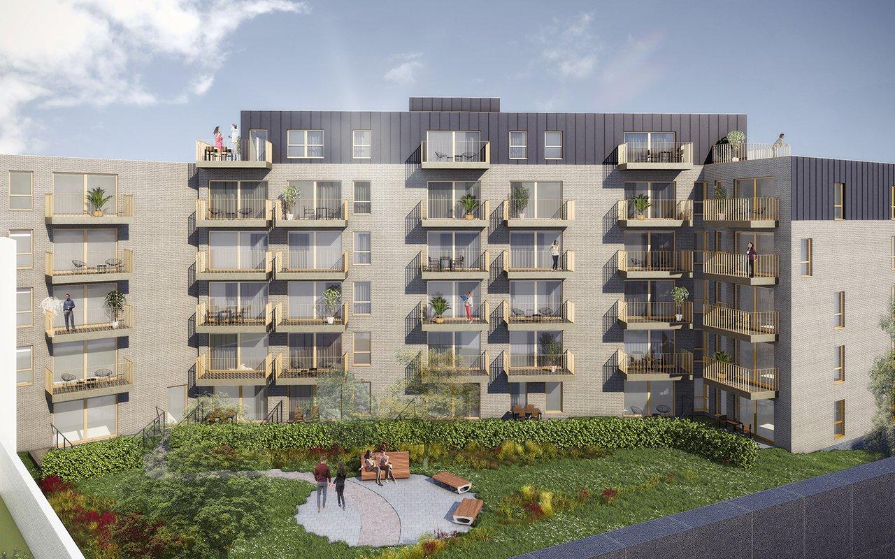 gevel met binnentuin Residentie Schuman