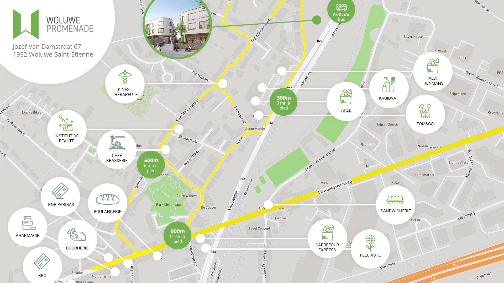 Woluwe Promenade FR map