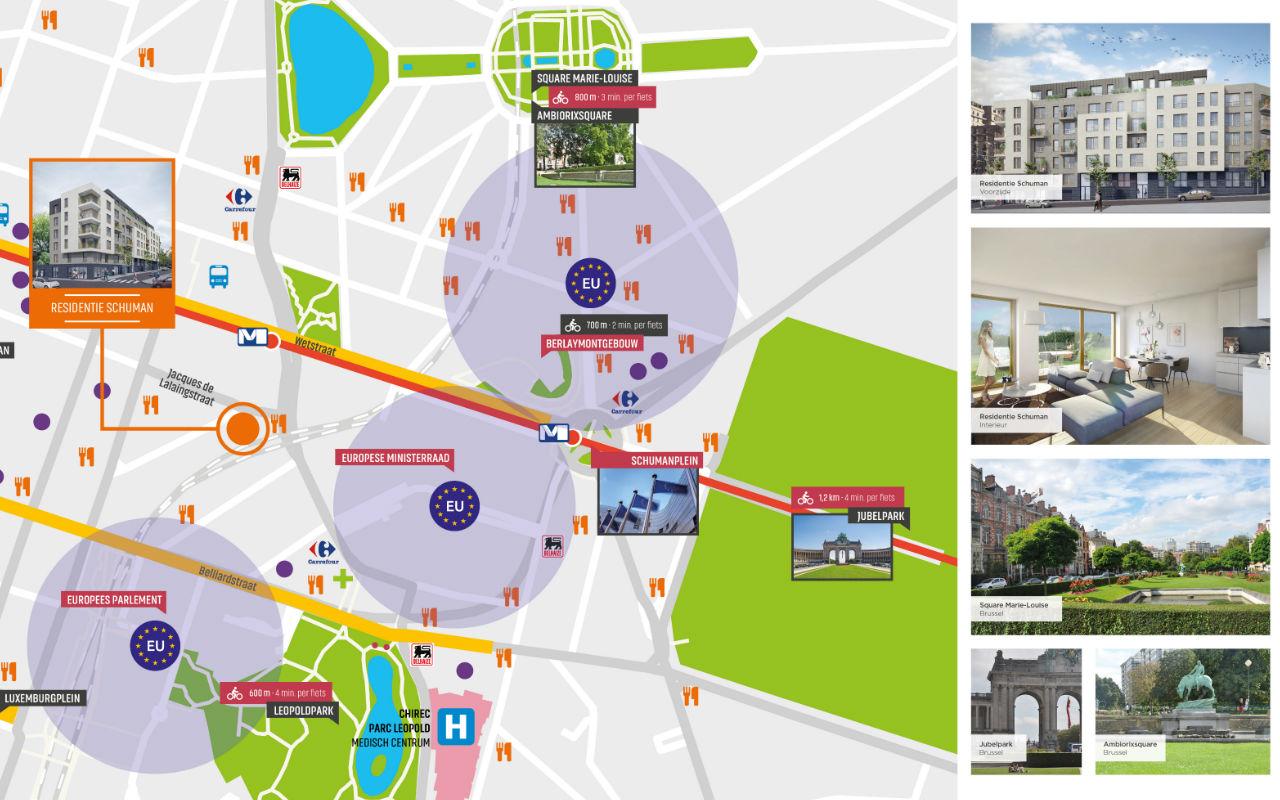 detail liggingsplan Residentie Schuman Urbicoon